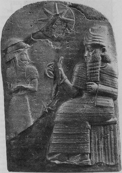 "HAMMURABI RECEIVING THE ""CODE OF LAWS"" FROM THE SUN GOD"
