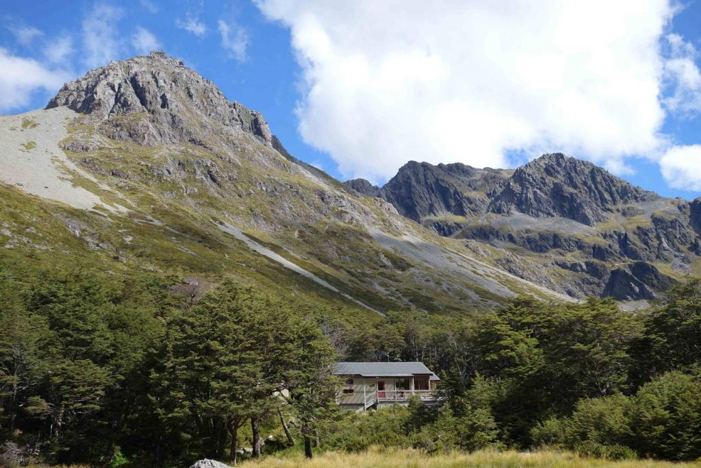 The Upper Travers Hut in Nelson Lakes National Park, one of the DoC huts on Te Araroa trail. Photo / Laura Waters